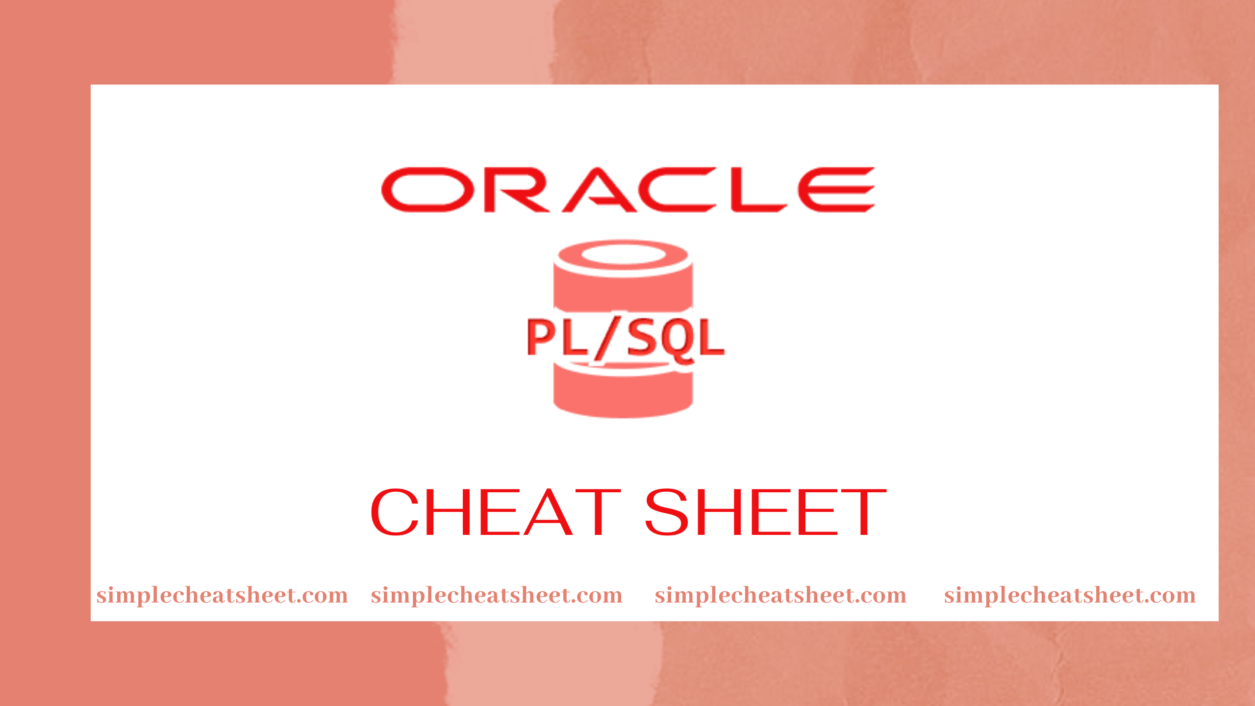 PL/SQL Cheat Sheet