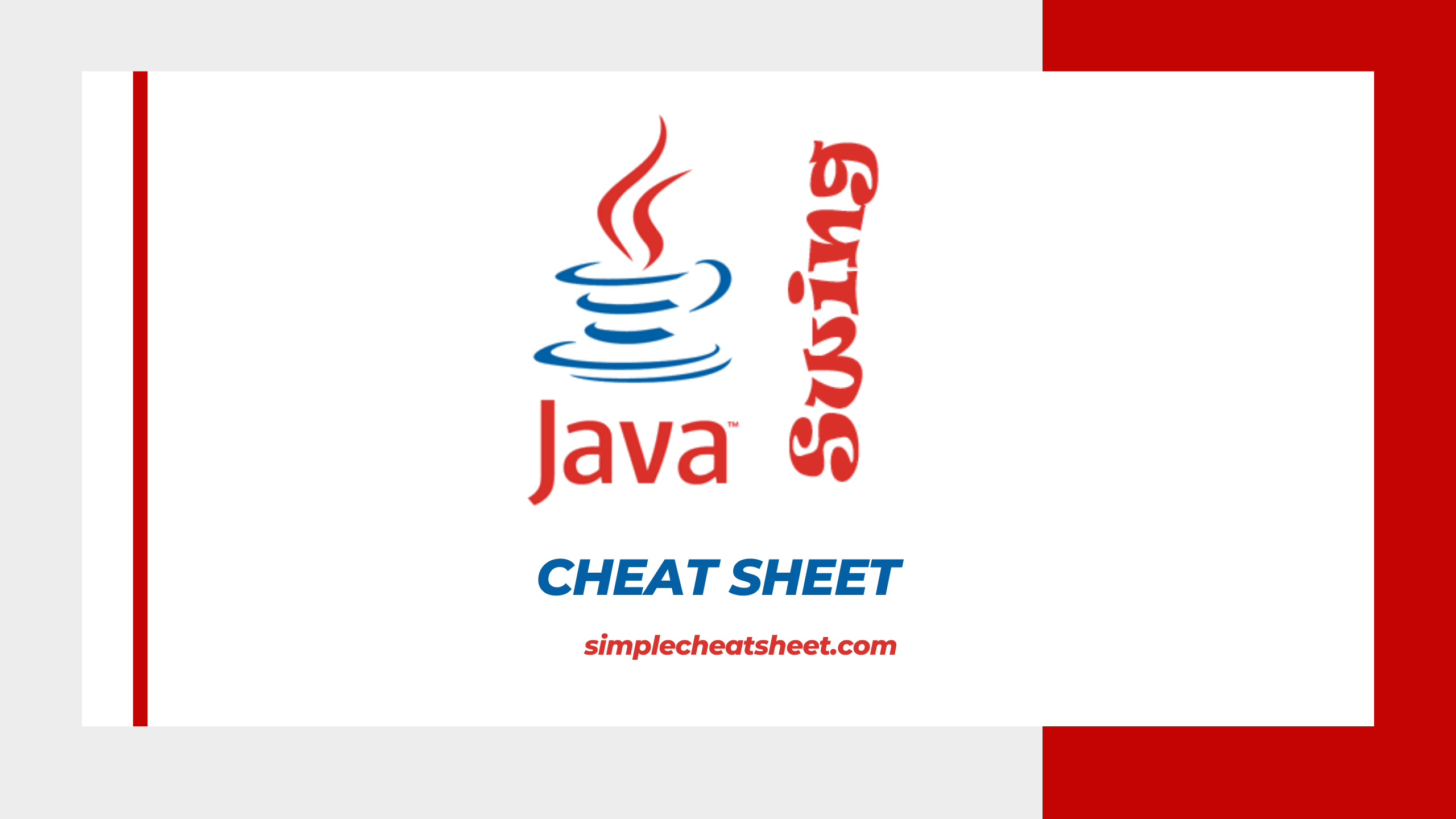 Java Swing Cheat Sheet